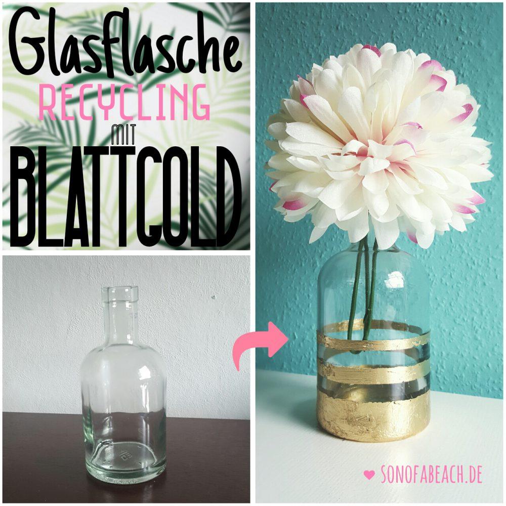 Glasflasche Blattgold
