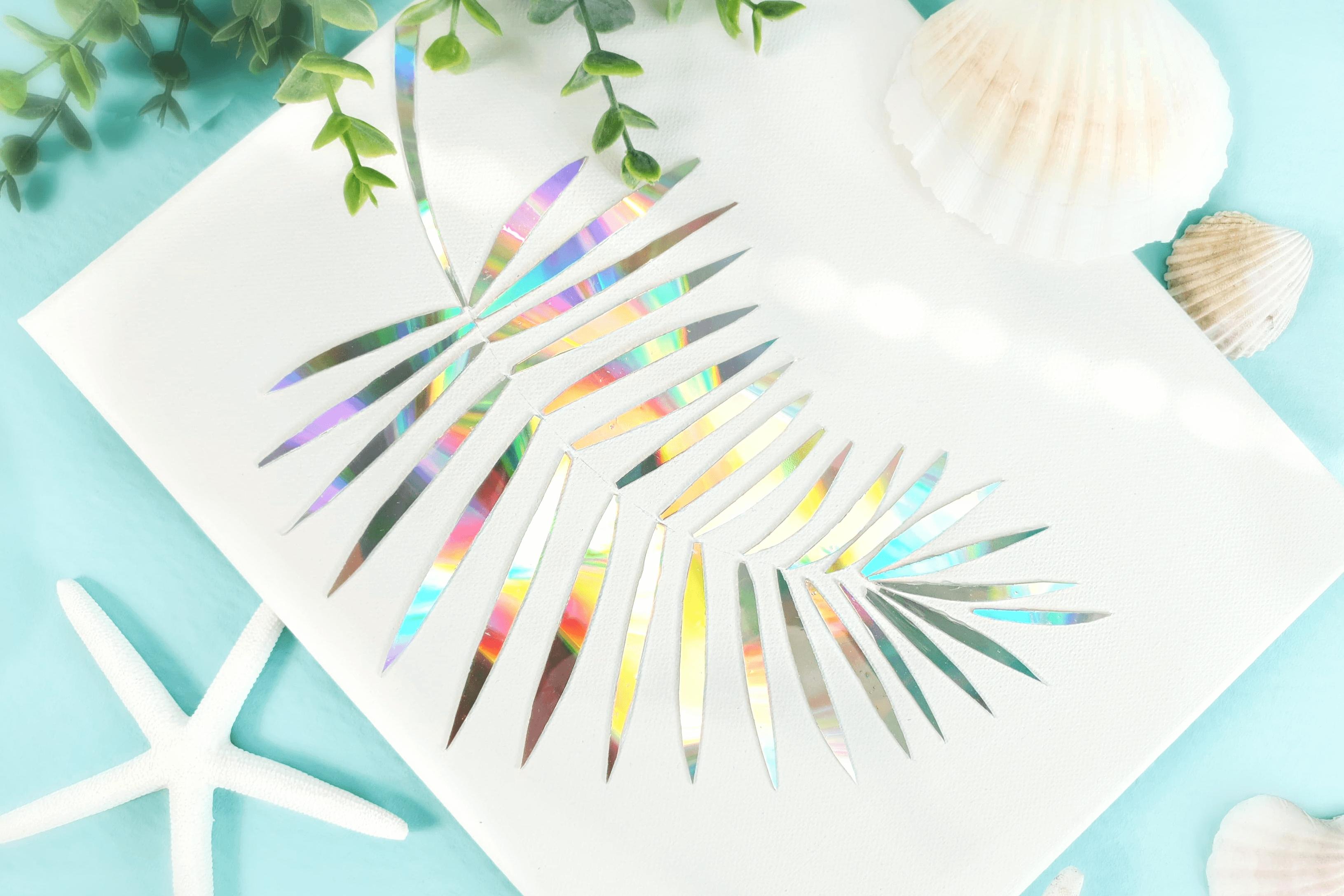 basteln mit cd palmenblatt wandbild