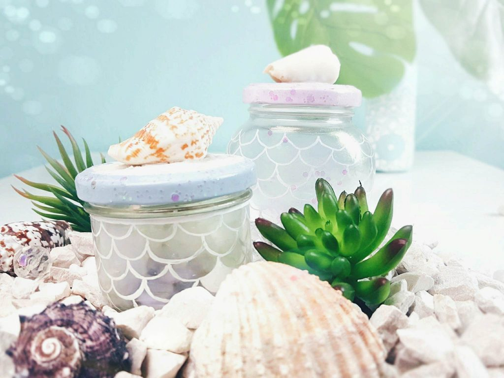 diy recycling maritime mermaid glas aufbewahrung. Black Bedroom Furniture Sets. Home Design Ideas