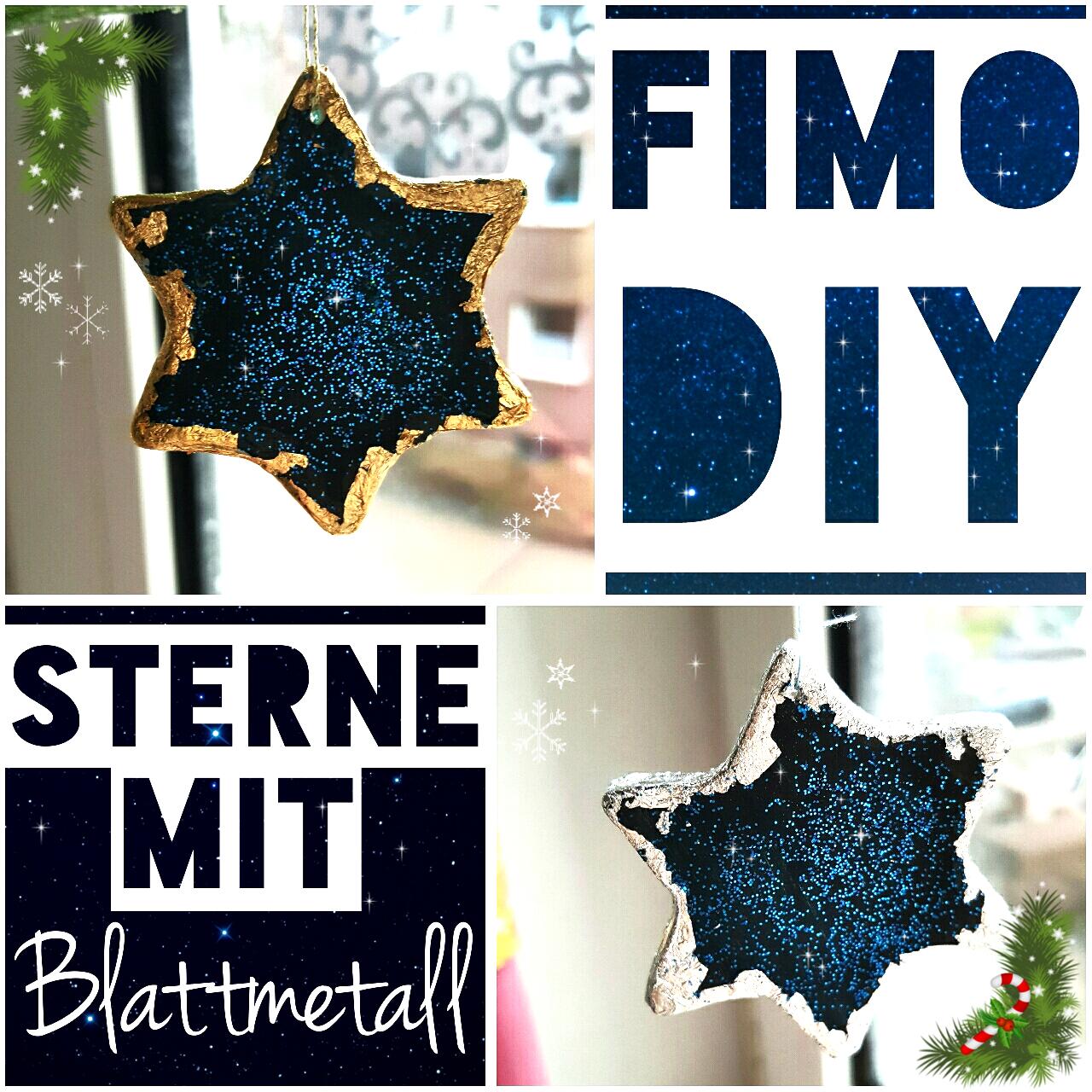 fimo diy weihnachtsschmuck glitzer sterne mit blattmetall. Black Bedroom Furniture Sets. Home Design Ideas